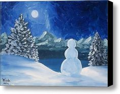 Christmas Paintings On Canvas | Christmas Snowman Stretched Canvas Print / Canvas Art By Craig Wade