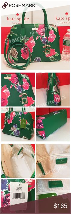 "New Kate Spade green floral Rachelle Satchel 100% authentic. Grainy vinyl with matching leather trim. 14-karat light gold plated hardware. Inside zip and slip pockets. Zip top closure and fabric lining. Handles drop 4.5"". Longer detachable and adjustable strap. Measures 12.5"" (L) x 9"" (H) x 5"" (W). Brand new with tags. Comes from a pet and smoke free home. kate spade Bags Crossbody Bags"