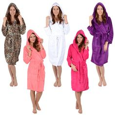 26bfccaeaf Ladies Coral Fleece Bath Robe With Hood White Plum Leopard Dressing Gown  Wrap -  UK