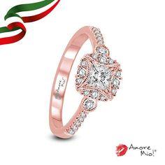 Anillo de oro Rosa 14Kt SKU: RG1430379A Diamante Princess 0.27 quilates. Color-F, Claridad SI1 Laboratorio-GIA-DGC, SKU Diamante: 94680, Piedras Laterales: 0.26 pts, Precio: $21,662.08 pesos M.N *Consulte términos y condiciones.