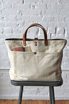 1920's era Farm Feed Sack Pocket Tote - FORESTBOUND