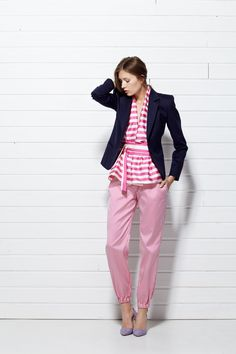 #PLAKINGER #SS15 #LOOK VI Navy #blue #blazer #tailored from a #sumptuous virgin #wool and #angora blend, it features a contrasting under collar made from a #vivid #pink #silk #jacquard. #Tailored cut, a covered button, fully lined in pale pink. #Styled with pink #striped #pants cut from a #mikado woven silk. Elasticated waistband and cuffs. #byplakinger #fashion #feminine #style #newbrand #newcollection #springsummer15 #emergingdesigner #collection #brand #menswearinspired #jacket