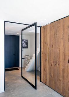 Steel look pivot door by Anyway Doors Pivot Doors, Sliding Doors, Front Doors, House Doors, Plank, Modern, Windows, Glass Doors, Furniture