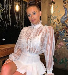 Choose from a huge range of wholesale women's clothing, where you'll find all the latest trends and celebrity looks at fantastic prices with fast delivery. Classy Outfits, Sexy Outfits, Sexy Dresses, White Satin Blouse, Parisian Style, Parisian Fashion, Sexy Blouse, Silk Mini Dress, Girl Fashion