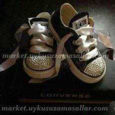 Özel Tasarım Siyah Taşlı Çocuk Converse
