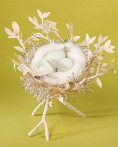 Eggs-in-a-Nest Centerpiece  Make a distinctive needle-felted bird's nest for your Easter table.  Eggs-in-a-Nest Centerpiece How-To