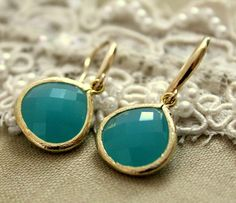 Blue Turquoise green earrings - 14k goldfill  High quality earrings with faceted glass.. $34.00, via Etsy.
