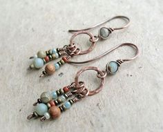 Copper Long Dangle Earrings Aqua Terra Jasper African Blue Opal Wire Wrapped Brass Sterling Silver Heart Chakra Rustic Boho Earthy (18.49 GBP) by JustynaSart #HomemadeJewelry