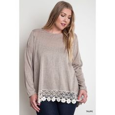 🎉CCO🎉 Taupe Knit Scoop Neck Top Solid knit scoop neck jersey top with lace crochet trimmed hemline. 66% cotton 40% polyester. Tops