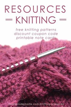 Resources Knitting Page | Deux Brins de Maille | Free knitting patterns, discount coupon code and some printable note cards related to knitting.