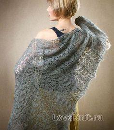 Схема спицами серая мохеровая шаль
