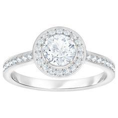 Attract Round Ring, White, Rhodium plated | Swarovski.com Swarovski Gifts, Swarovski Jewelry, Swarovski Crystals, Style Personnel, Palladium, Premier Jewelry, Blur, Jewelry Rings, Gold Jewellery