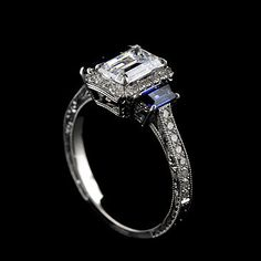 14k White Gold Vintage Style Hand Engraved Trapezoid Sapphires Engagement Ring Setting
