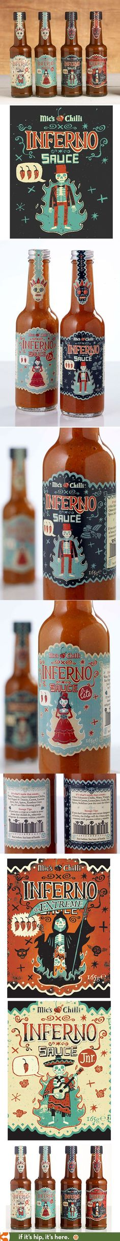 Here you go Dimitris barcode and packaging example in fabulous label designs for Mic's Chilli Inferno Sauces by Steve Simpson. PD