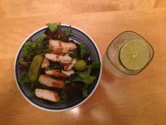 Dinner: Grilled chicken over salad greens, pepperoncini and olives.
