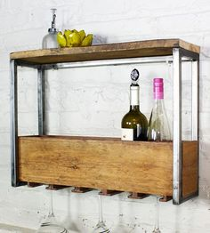 Reclaimed Wood Wine Rack & Shelf