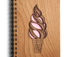 Ice Cream Cone Lasercut Wood Journal from Cardtorial… Cool Journals, Cute Notebooks, Diy Notebook, Journal Notebook, Laser Cut Wood, Laser Cutting, Laser Cutter Projects, Diary Covers, Handmade Christmas Gifts