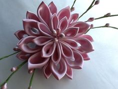 Pale Pink Kanzashi Flower with Pink Pearl by LihiniCreations, $26.00