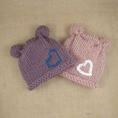 Custom Knit Animal Ears Hat with Heart. You pick the Colors.For Babies, Newborns, Infants, Preemies, Baby, Newborn, Preemie, Babies