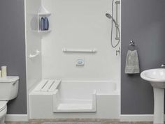 Bathroom Design: Bathtub shower stall with corner wall shelves and ...