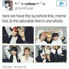 Lol V was a sunshine line but he changed to meme line lol