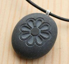 Chrysanthemum Flower Necklace  Tiny PebbleGlyph C by sjengraving