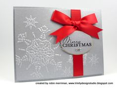 Snowflake with simple red ribbon #embossing, #christmas