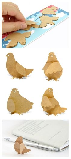 paper by clairehobby It gives an idea of the shape one can cut and fold to get these adorable birds...
