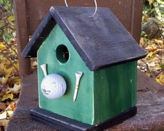 Birdhouse green golf ball and tee by birdhouseaccents on Etsy, $20.00