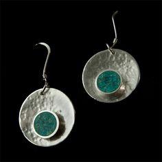 Aros de plata y mosaico crisocola   Joyas hechas a mano/ Hand made jewelry   www.facebook.com/DeDiosas