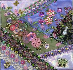 crazy quilting by Pamela Kellogg http://www.kittyandmedesigns.blogspot.com/