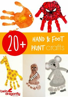 Hand and Foot Print Crafts - Malen mit Kindern - Daycare Crafts, Baby Crafts, Crafts To Do, Preschool Crafts, Kids Crafts, Baby Footprint Crafts, Daycare Rooms, Crafts For Babies, Summer Crafts