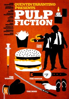 Pulp Fiction by Quentin Tarantino Best Movie Posters, Minimal Movie Posters, Movie Poster Art, Quentin Tarantino Pulp Fiction, Tarantino Films, Art Pulp Fiction, Fiction Film, Pump Fiction, Cinema Tv