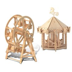 Provide your children with hours of fun when you give them this ferris wheel and carousel wooden 3D puzzle construction kit. The kit includes a piece of sandpaper and instructions to ensure that they