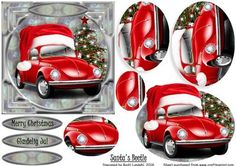 Santa s Beetle on Craftsuprint designed by Bodil Lundahl - Isn't it cute 3d Cards, Xmas Cards, Christmas Decoupage, Christmas Crafts, Christmas Truck, 3d Prints, Decoupage Paper, Printable Cards, Christmas Printables