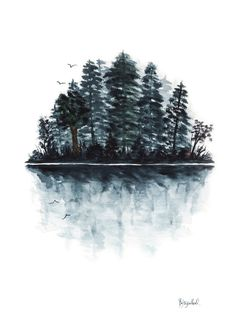 Original Watercolor Painting Forest Lake by PainterPeeps on Etsy