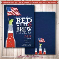 Printable Red White & Brew Fourth of July by SendMeStationery, $15.00