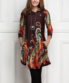 Look what I found on #zulily! Brown Paisley Shawl Collar Button Tunic Dress - Plus Too #zulilyfinds