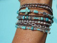 Boho  TURQUOISE  Endless Leather   Wrap Bracelet by fleurdesignz