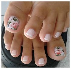 French pedicure with accent floral nail art. French pedicure with accent floral nail art. Pink Toe Nails, Pretty Toe Nails, Cute Toe Nails, Toe Nail Art, My Nails, Flower Toe Nails, Acrylic Toe Nails, Purple Nail, Colorful Nails