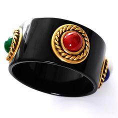 YSL Vintage Black Enamel Bangle Bracelet Cabochons Yves Saint Laurent Jewelry 1980