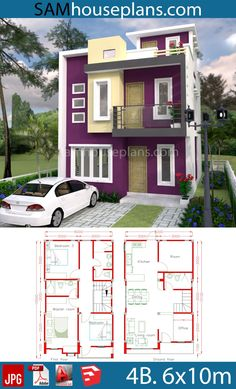 Sketchup Home Design Plan with 4 Rooms - SamPhoas Plansearch Duplex House Design, Duplex House Plans, House Front Design, Bedroom House Plans, Small House Design, Dream House Plans, Modern House Plans, Small House Plans, Modern House Design