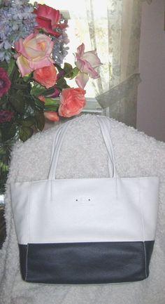 Leather Stone Mountain Dayton Tote - White/Navy Handbag New With Tags #StoneMountain #TotesShoppers
