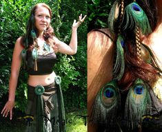 PEACOCK fantasy HAIR FALLS piece 9 feathers Tribal Fusion Belly Dance elf fairy costume accessory C U S T O M  C O L O R Reenactment Larp. €28.00, via Etsy.
