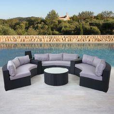 Luxus Poly-Rattan-Garnitur Savoie, Sitzgruppe Lounge-Set, XXL rund, anthrazit Kissen grau Outdoor Sectional, Sectional Sofa, Outdoor Furniture Sets, Outdoor Decor, Modern, Dining, Home Decor, Products, House Decorations