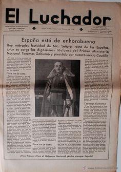 PERIODICO EL LUCHADOR, 5 DE FEBRERO 1938!!! FRANCO EN PORTADA, ESPAÑA DE ENHORABUENA! VIVA FRANCO!