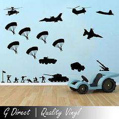 Army Military Scene Wall Sticker for Boys Bedroom Playroom Vinyl Decal Transfer | eBay
