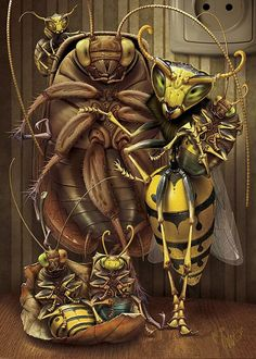 Insects illustrations // Love this - it has a kind of Rodney Matthews feel about it :)