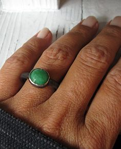 Emerald Industrial Ring by HotRoxCustomJewelry on Etsy, $89.00