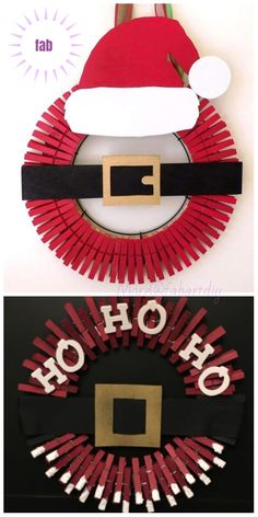 Clothespin Christmas Wreath DIY Tutorials - Clothespin Santa Christmas Wreath Inspiration - Diy and crafts interests Homemade Christmas Wreaths, Diy Christmas Ornaments, Holiday Wreaths, Christmas Decorations, Santa Christmas, Grinch Santa, Christmas 2019, Homemade Wreaths, Christmas Swags